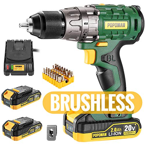 "Cordless drill, Brushless 20V 1/2"" Drill Driver, 2x2000mAh Batteries, 530 In-lbs Torque, 21+1 Torque Setting, Fast Charger 2.0A, 2-Variable Speed, 33pcs Accessories"