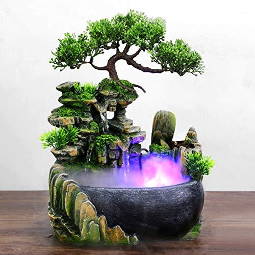 Zimmerbrunnen mit Beleuchtung, Tischbrunnen mit Pflanzen Zimmerspringbrunnen LED Balkon Brunnen mit Beleuchtung Wasserspiel mit Farbwechsel Simulation Steingarten Dekor