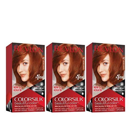 Revlon Colorsilk Beautiful Color, Permanent Hair Dye with Keratin, 100% Gray Coverage, Ammonia Free, 42 Medium Auburn (Pack of 3)