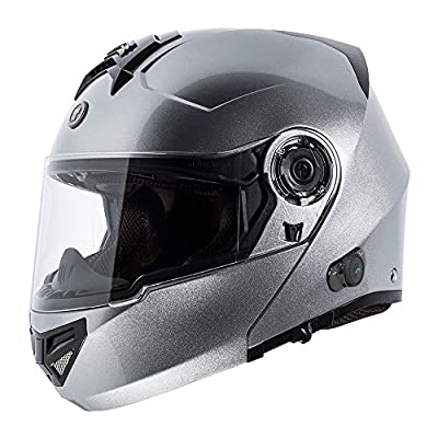 TORC T27B1 SL L T27 Full Face Modular Helmet with Integrated Blinc Bluetooth (Silver, Large)