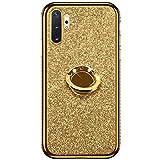 Hpory Custoida Samsung Galaxy Note 10 Plus, Cover Samsung Note 10 Pro Glitter Strass Ring-Case Rigida 360 Gradi Case Rotazione Kickstand Morbido Gel Silicone TPU Cover Placcatura Caso, Oro