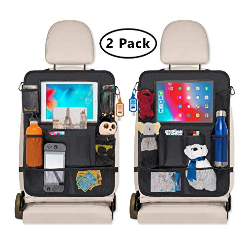 """Verona Supplies Car Seat Organizer for Kids - Backseat Organizer Kick Mat Protectors- 9 Storage Pockets and 10"""" Touch Screen Tablet Holder (2 Pack)"""