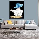 ganlanshu Retrato de Sombrero de Labios Pintura al óleo Imagen de Arte de Pared decoración de Sala de Estar Cartel de Sala de Estar,Pintura sin Marco,30X45cm