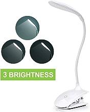 クリップライト、LEDデスクランプタッチコントロール調光対応ベッドサイド、テーブルランプ、クリップオンライト3レベル明るさアイケアタッチライト、読書、リラックス、睡眠
