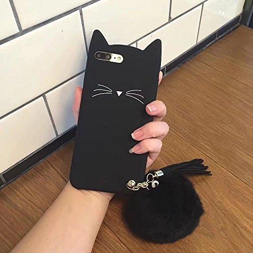 SevenPanda iPhone 11 6.1 Zoll Handy Schutzhülle mit Katzen Ohren Cover Zubehör Öhrchen Schale Girl Super Sweet 3D Cute Cat Ohr mit Schönen Gigantischen Flauschigen Hülle Haar Ball Quaste - Schwarz