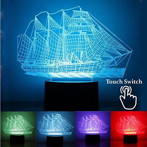 RUMOCOVO Retro Ancient Sailing Sea Boat Ship LED Lamp Chinese Style 7 Color Changing 3D Illusion Night Light USB Home Decor Kids Gift