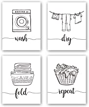 "HPNIUB Funny Laundry Quotes Art Prints, Set of 4 (8""X10""), Laundry Saying Wash Dry Fold Repeat Canvas Poster,Modern Minima..."