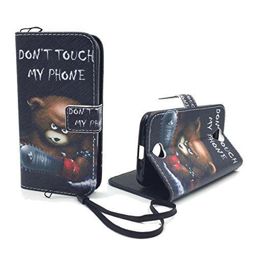 König Design Handyhülle Kompatibel mit Acer Liquid Z330 Handytasche Schutzhülle Tasche Flip Hülle mit Kreditkartenfächern - Don't Touch My Phone Bär mit Kettensäge