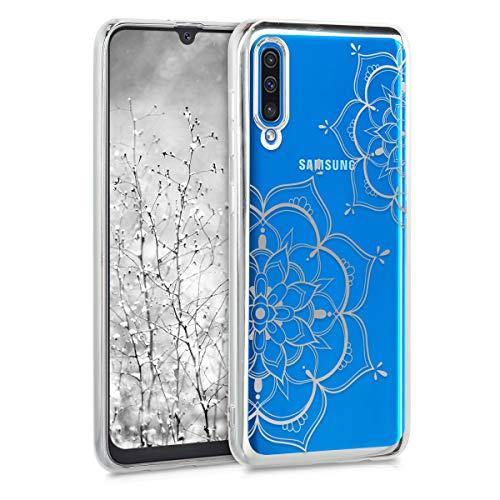 kwmobile Cover per Samsung Galaxy A50 - Custodia Protettiva in Silicone TPU Cristallo Trasparente - Back Cover Case Cellulare Argento/Argento/Trasparente