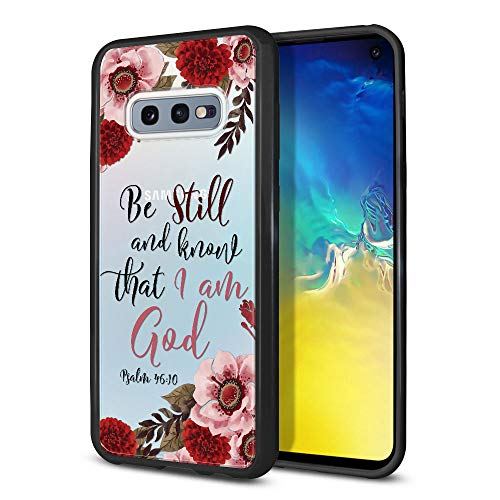 FINCIBO Case Compatible with Samsung Galaxy S10E 5.8 inch, Slim Shock Absorbing TPU Bumper + Clear Hard Protective Case Cover for Galaxy S10E (NOT FIT S10) - Christian Psalm 46:10
