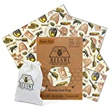 Beeswi Beeswax Wrap, Pack of 4 Wraps with Free Cotton Bag - Reusable Food Storage Wraps | Organic, Washable, Plastic Free, Sustainable & Eco Friendly - 1 Pocket, 1 Small, 1 Medium, 1 Large and 1 Bag
