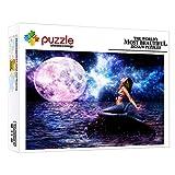 ZTCLXJ 1000 Piezas Puzzles Junior Puzzle para Niños Niñas Infantiles De Madera Ecológica De Puzzle Adultos Niños Art para Regalos De Cumpleaños Hijo Hija 52 × 38 Cm Personaje De Fantasía Sirena Luna