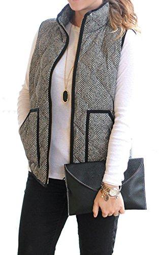 Merokeety Womens Slim Fall Quilted Herringbone Puffer Vest with Zipper XS Black/White