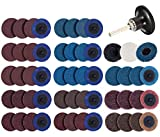 S SATC 70PCS Sanding Discs Set 2 Inch Roloc Quick Change Discs with 1/4 Holder for Die Grinder Roloc Disc Roll Lock Air Grinder AttachmentsSurface Conditioning Discs