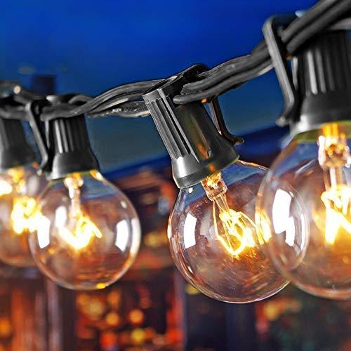 MQIQI Cadena Solar de Luces al Aire Libre, 25 pies G40 Luces de Cuerda de Globo de jardín Impermeables Luces de Adorno para Patio Trasero Luces para Patio, café, glorieta, Boda, Fiesta, Navidad