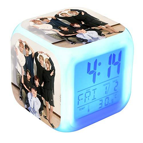 Bosunshine BTS Wecker mit digitaler LED-Uhr mit 7 Farbwechsel und 8 Klingeltönen mit Temperatur- und Touch-Bedienung, Schlaf- und Schlummerfunktion für Schlafzimmer, 4642H09