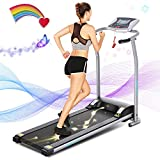 ANCHEER Treadmill for Small Spaces,Compact Treadmills with LCD Monitor Motorized,Pulse Grip and Safe Key,Top Indoor Exercise Machine Trainer Walking Jogging Running for Home & Office Workout (White)