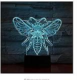 Animal Bee 3D Lampe Tactile Capteur 7 Changement de Couleur Apis Lampe Décorative Enfant Enfants Bébé Kit Veilleuse Honeybee Led Veilleuse