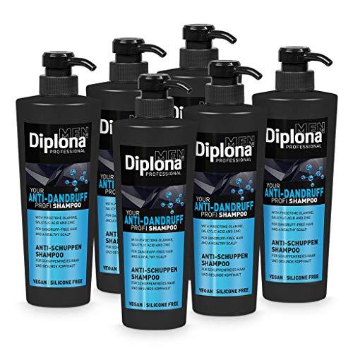 DIPLONA Champú anticaspa para hombres, vegano sin siliconas ni parabenos para cabello sin caspa, cuidado del cabello para hombre, 6 unidades de 600 ml