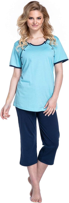 Happy Mama Umstands Stillnachthemd und Morgenmantel. Separat erhältlich. 393p Schlafanzug - Hellblau