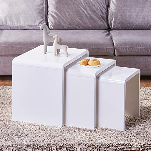 GOLDFAN Nest of Tables Set of 3 High Gloss Coffee Tables Nesting Multi-functional Side End Tables,White