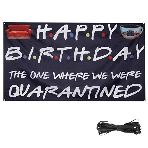 CREPUSCOLO Happy Birthday Banner Backdrop The One Where We were Quarantined Sign for Quarantine Birthday Decoration
