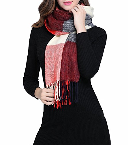 Mujeres caliente Mantas Cozy Pashmina bufanda larga tartán enrejado mantón (rojo azul)