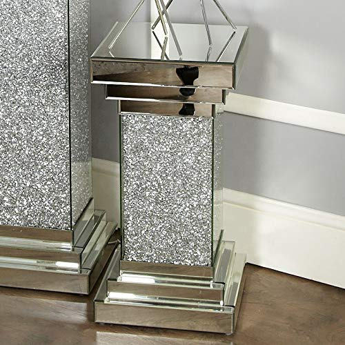 Touch of Vogue Pillar Mirrored Crushed Diamond Crystal Side End Table Stand Mirror Glitz Design (60CM)