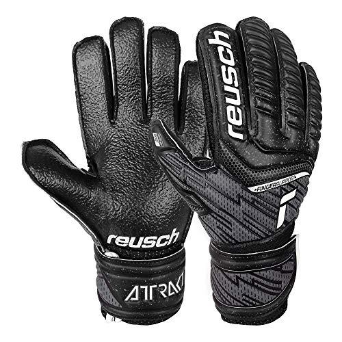 Reusch Guanti da portiere unisex attraenti Resist Finger Support Junior con protezione dita, nero, 8
