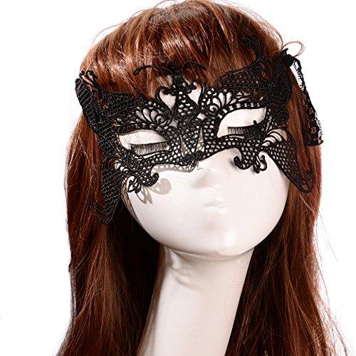 Masque de bal vénitien papillon stylisé en dentelle noire masquerade