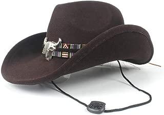 Hat Size 56-58CM Authentic Men Women Winter Western Cowboy Hat With Punk Belt Wool Sombrero Hat Adult Church Hat Fashion Hat