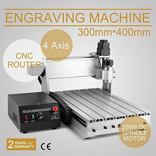 FurMune CNC Fräsmaschine Fräs Graviergerät CNC Router Machine Engraver Machine 3040T 4 Achsigen Einfache Installation Aus Aluminiumlegierung (3040T 4 Achsigen)
