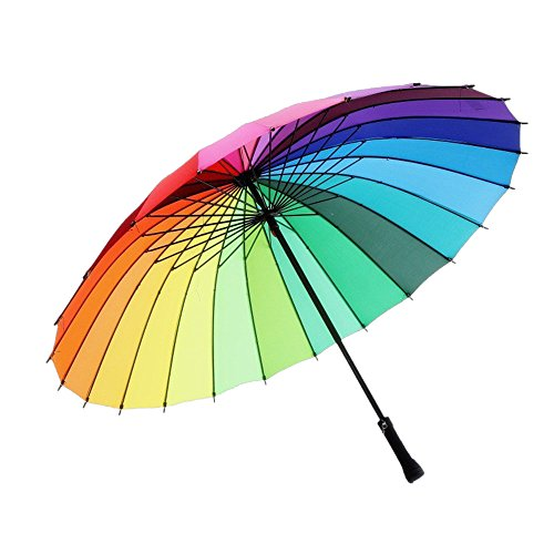 meizhouer 24k Color Rainbow Umbrella Fashion Long Handle Straight Anti-UV Sun/Rain Stick Umbrella...