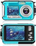 Caméra sous-Marine pour la Plongée en Apnée, Appareil Photo Numérique Etanche 2.7K 24MP, Caméra sous-Marine Rechargeable HD avec Double Ecran