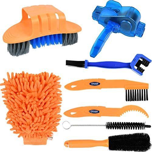 OFNMY 8Pcs Bicycle Cleaning Brush Tool, Bike Cleaning Kit Brush Cleaning Tools with Chain Tire Sprocket Scraper Sprocket Brush Cleaning Gloves for Mountain Road City Hybrid BMX Bike & Folding Bike
