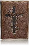 Christian Art Gifts Genuine Leather Wallet for Men   Names Of Jesus Cross   Quality Classic Brown Leather Trifold Wallet   Christian Gifts for Men