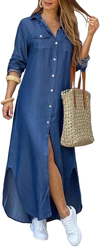 Damen Blusenkleid Elegant V-Ausschnitt Langarm Hemdkleid Einfarbig Druck Lang Kleid Mit Knopf Shirtkleid Maxikleid Strandkleid Boho Sommerkleid