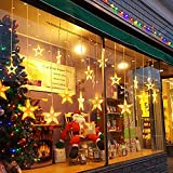 Guirnaldas Luminosas Estrellas Cortina Luces, 138 Leds telones de hogar, Led cortina cadena luces con control remoto para el Balcón, Ventana, Pared, Escaparate, Boda, Fiesta(Blanco Cálido)
