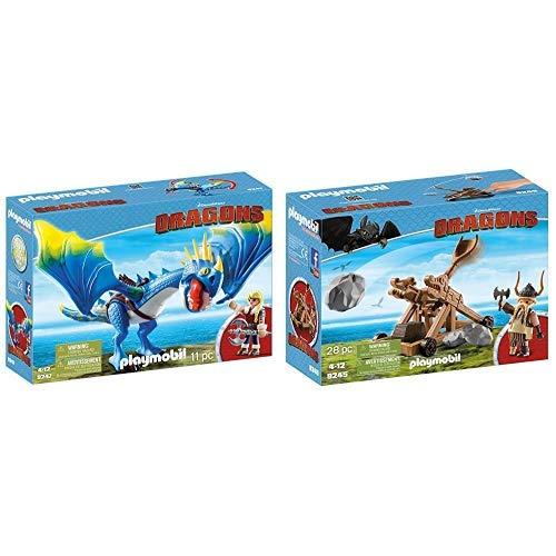 Playmobil 9247 - Astrid und Sturmpfeil &  9245 - Grobian mit Katapult