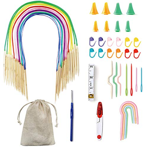 Exquiss 18 Pairs Knitting Needles Set Circular Wooden Knitting Needles with Colorful Plastic Tube,Weaving Tools Pack for Beginner,32' Length,Sizes 0-15(2.0mm-10.0mm)