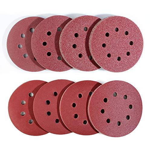 80 Stück exzenterschleifer schleifpapier 125mm klett, 8 Loch schleifscheiben 125mm Rund klett für Exzenterschleifer 10x 40/60/80/120/180/240/320/400 Körnung by Taspire