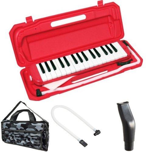 KC 鍵盤ハーモニカ (メロディーピアノ) レッド P3001-32K/RD + 専用バッグ[Mono Camouflage] + 予備ホース + 予備吹き口 セット
