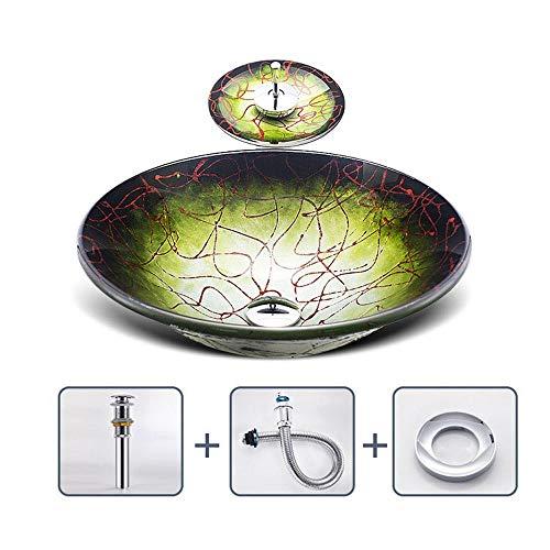 chicstyleme - Lavabo de Vidrio con Degradado de Color a Rayas, Agua Cascada, Vidrio Templado, Cuarto de baño sobre el Lavabo