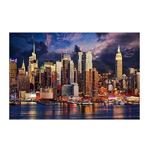 Rjunjie zonsondergang Wolke New York City Manhattan gebouw canvas schilderij affiches en prints muurkunst schilderij voor de woonkamer decoratie (60x80 cm zonder lijst)