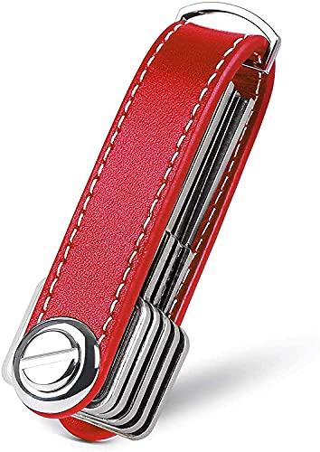 ZEACCT Organizador de Llaves | Llavero de Cuero Genuino | Titular de la Llave de Bolsillo Inteligente con un Elegante Estuche para Regalo (Sostiene Entre 7 y 9 Teclas Múltiples) (Rojo)
