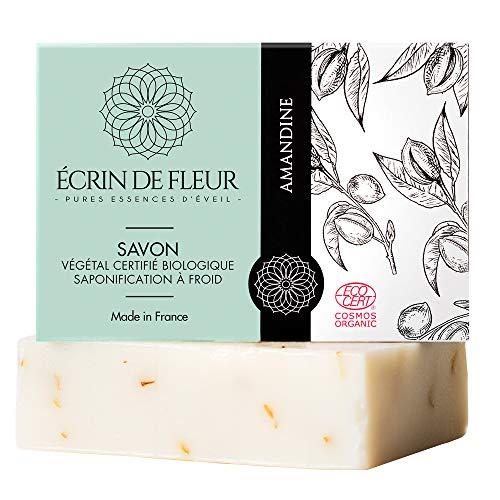 ÉCRIN DE FLEUR | Zertifiziert organische | Mandelseife | Feuchtigkeitsspende Seife aus süßem Mandelöl gemischt mit Ringelblume | in Frankreich handgemacht | Ohne Palmöl & SLS | 100g
