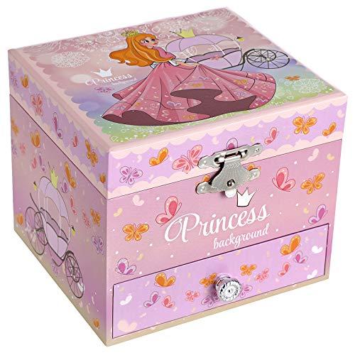 SONGMICS Caja de Joyería Musical para Niños con Bailarina, Diseño Elegante de Princesas y Mariposas, Melodía en Algún Lugar sobre el Arco Iris, Rosa JMC011PK