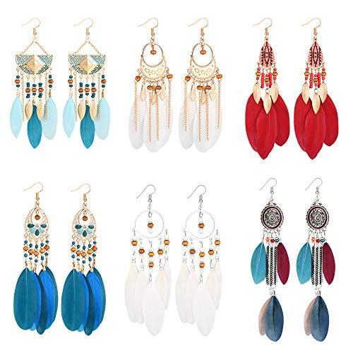 Vathery 6 Paar Boho Feder Ohrringe Indianer Ohrringe Vintage für Damen Mädchen