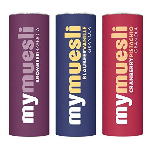 mymuesli 3x Granola Probierpaket mit Brombeer Granola (575g), Blaubeer Vanille Granola (575g) und Cranberry Pistazie Granola (575g) – 100% Bio-Müsli