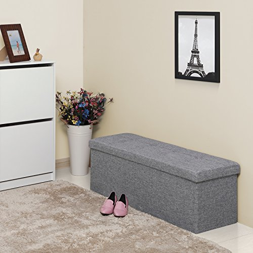 SONGMICS Folding Storage Ottoman Bench, Foot Rest, Stool, Storage Chest with Wooden Divider, Holds up to 660 lb, Light Grey ULSF77G